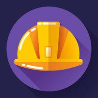 Orange construction worker helmet icon. Flat design style.