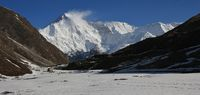 Snow covered mount Cho Oyu. View from Gokyo, Nepal.