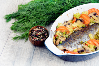 Baked seabass fish