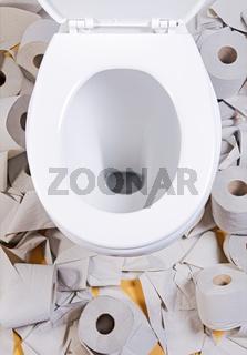 open toilet bowl with toilet-paper