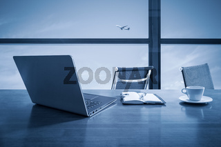 office desk with window scene