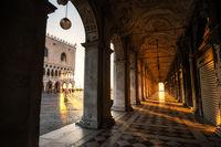 Sunlight through columns in venice