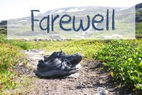 Shoes On Trekking Path, Text Farewell