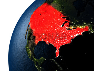 USA in red on Earth at night