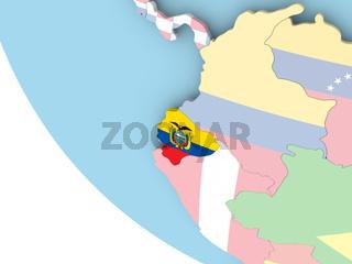 Ecuador with flag on globe
