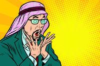 Close-up, face surprise, delight Arab businessman