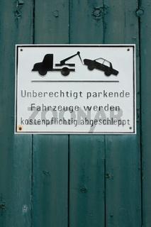 warnschild, unberechtigtes parken...