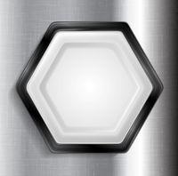 Abstract metallic hexagon label