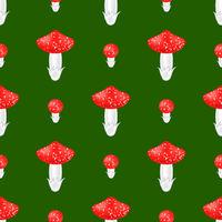 Red Mushroom Seamless Pattern