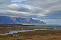 Late summer day near Saudarkrokur, Iceland. Coastal landscape.