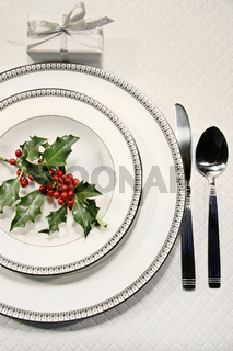 Elegant christmas place setting