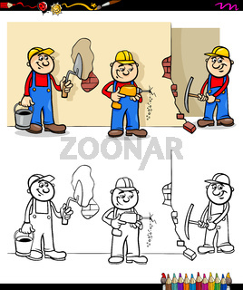 workers and builders characters group color book
