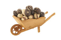 Wheel barrow with chocolate easter eggs