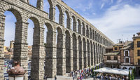 Ruin, Roman aqueduct of segovia. architectural monument declared patrimony of humanity and international interest by UNESCO. Spain