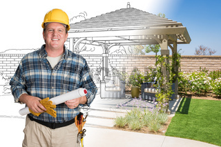 Male Contractor With House Plans Wearing Hard Hat In Front of Custom Pergola Patio Covering Drawing Photo Combination
