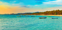 Seascape at sunset time. Beautiful landscape of the Indian ocean. Panorama