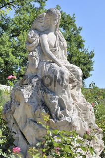 Statue der Loreley des italienischen Bildhauers Mariano Pinton aus dem Jahre 1979, Sankt Goarshausen, Mittelrheintal, Weltkulturerbe der UNESCO, Rheinland-Pfalz, Deutschland, Europa