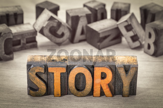 story word abstract in wood type