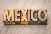 Mexico - word abstract in wood type
