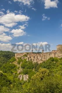 Sorano, der Stadt des Mittelalters , in der Provinz Grosseto in der Toskana, Italien