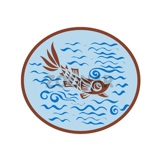 Medieval Fish Swimming Oval Retro