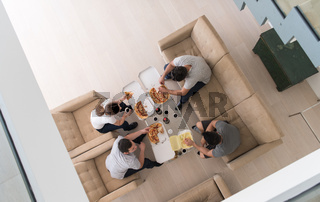 Pizza time a group of people