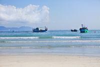 Boats on the Zoklet beach. Vietnam landscape