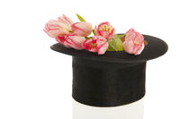 Black top hat with tulips