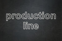 Manufacuring concept: Production Line on chalkboard background