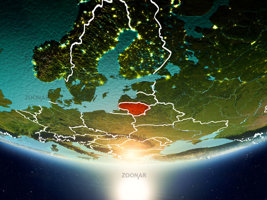Lithuania with sun on planet Earth