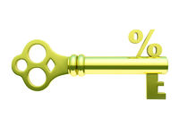 Golden key with percent symbol