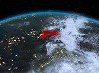Tajikistan from space at night