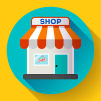 Store front vector icon Flat design small shopping center exterior illustration