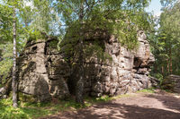 Rock Four Brothers an amazing natural landmark in resort city of Belokurikha in the Altai Krai