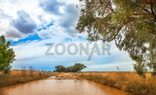 Flooded street in the outback at Dubbo Australia