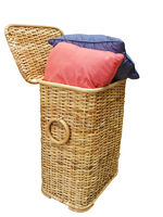 Two Cushions in a cane Hamper