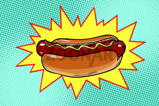 Pop art hot dog fast food