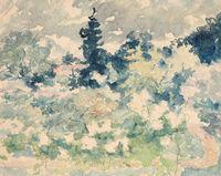 Landschaft mit Haus und Bäumen