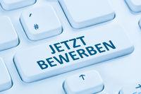 Bewerbung bewerben online Job suchen Internet blau Computer Tastatur
