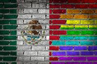 Brick wall texture - Flag of Mexico with rainbow flag