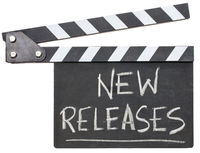new releases text on clapboard