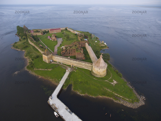 Aerial view on fortress Oreshek on island