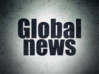 News concept: Global News on Digital Data Paper background