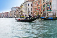 Italy. Venice. Grand Canal with gondola