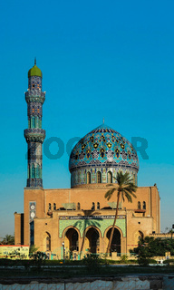 View to Al Fidos aka 17th ramadan Mosque in Baghdad at sunset, Iraq