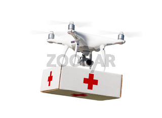 Unmanned Aircraft System (UAS) Quadcopter Drone Carrying First Aid Package On White.