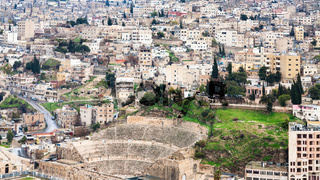 above view of ancient Roman Theater in Amman city