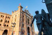 Sculpture in front of Bullfighting arena Plaza de Toros de Las Ventas in Madrid, Spain.