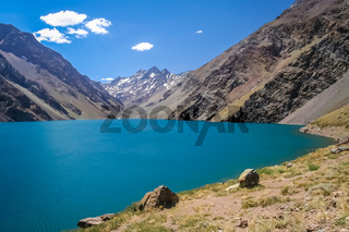 Beautiful torquise lake in the high Andes in Chile
