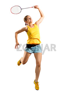 Young woman badminton player (without shuttlecock ver)